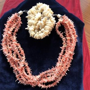 Pink Coral Necklace with Off White Bracelet